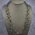 Necklace - Black Swarovski Crystals on Hand Crocheted Black Wire Chains