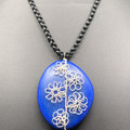 Wire-work Flowers on Blue Resin Pendant, with Plaited Cord
