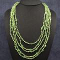 Necklace - Peridot Swarovski Crystals on Black Crocheted Wire (5 strands)