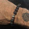 Men's/Unisex Gemstone Bracelet (Lava Stone with Silver Accents)