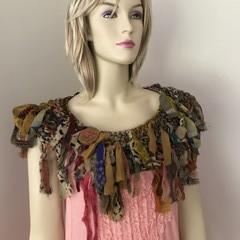 Earthy autumn silk chiffon collar scarf