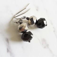 Minimal Modern style Glass Crystal bead drop earrings , Black Silver