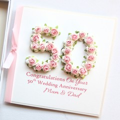 Personalised Anniversary Card For Any Year, Gift Boxed, 20 25 30 35 40 50 60 70