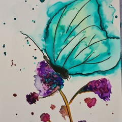 Whimsical watercolour of butterfly