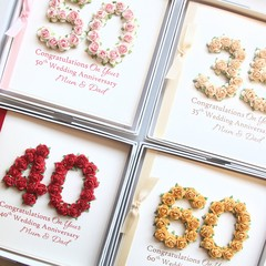 Personalised Anniversary Card For Any Year, 5 Colours, Gift Boxed, Custom Made