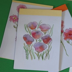 Watercolour Notepad - 6 Flowers in blended purples reds