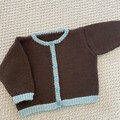 CLEARANCE. 50% off. Brown Cardigan - Size 6-9 months - Hand knitted