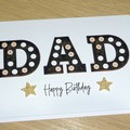 Dad Happy Birthday card or Fathers Day - marquee lights