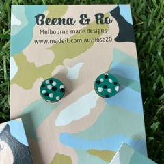 Hand painted green/pink/black studs