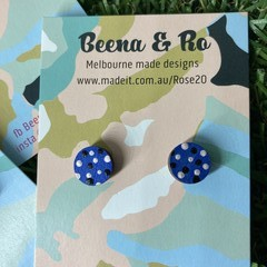 Hand painted blue/pink/black studs