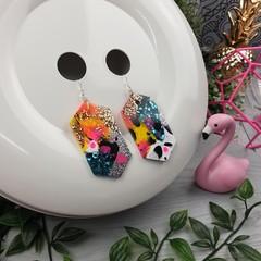Gem CINDY POP  Glitter Resin - MEGA Dangle earrings