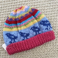 CLEARANCE 50% off  Pink Bird Beanie 6-12 months hand knitted