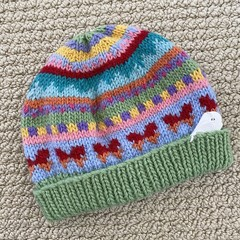 CLEARANCE 50% off Green Butterfly Beanie 6-12 months hand knitted