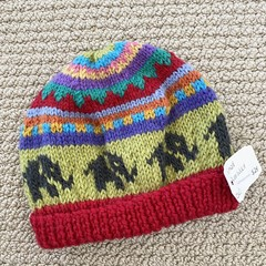 CLEARANCE 50% off Red Elephant Beanie 6-12 months hand knitted