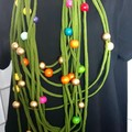 Beaded Necklace Scarf Green infinity