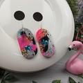 Oval CINDY POP  Glitter Resin - MEGA Dangle earrings