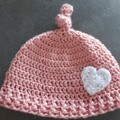 Girls crochet top knot hat Size 1 - 2 year old
