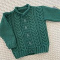 CLEARANCE 50% Green Cable Jacket - Size 6-12 months - Handknitted in pure wool
