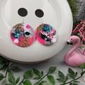 Circle CINDY POP  Glitter Resin - MEGA Dangle earrings