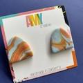 70's swirl  Medium Arc stud earrings