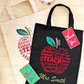Custom Made Vinyl Printed Tote Bag - Teachers Gift