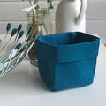Mini Linen Fabric Basket in Teal or Turquoise.