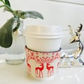 Christmas Coffee Cup Cozy with Cream and Red Scandi Reindeer