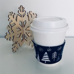 Christmas Coffee cup cozy with Navy Blue and Christmas Trees