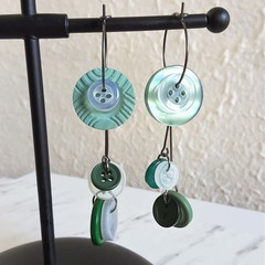 Unique Modern art Button statement mismatched dangling earrings , Green White