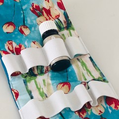 Teal and Red Tulip Essential Oils Storage Pouch.