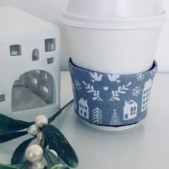 Christmas Coffee cup cozy with Scandi Houses