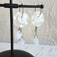 Unique Modern art Button statement mismatched dangling earrings , Clear White