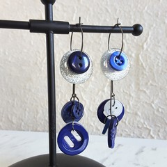 Unique Modern art Button statement mismatched dangling earrings , Blue Glitter