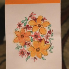 Watercolour Ruled Notepad - Yellow flowers