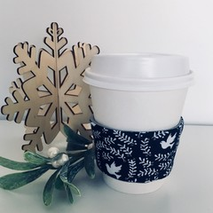 Christmas Coffee cup cozy with Navy and White Doves
