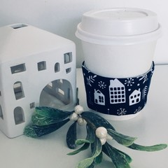 Christmas Coffee cup cozy with Navy and White Scandi Houses