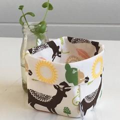 Autumn Woodland Mini Linen Fabric Basket.