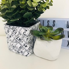 Mini Black and White Fabric Basket with Measuring Tape Design