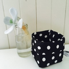 Mini Linen Fabric Bin in Black with White Polka Dots.