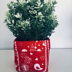 Mini Red Fabric Gift Basket with White Birds and Christmas Themes