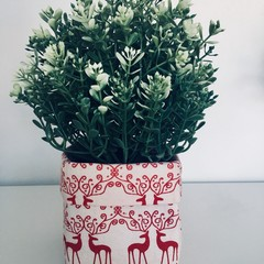 Mini Cream Fabric with Scandi Red Reindeer Basket