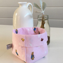 Pink Peter Rabbit Mini Linen Fabric Basket
