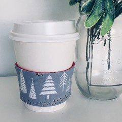 Christmas Coffee cup cozy with Scandi Christmas Trees