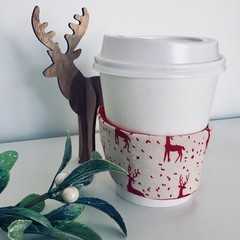 Christmas Coffee cup cozy with Scandi Red Reindeer