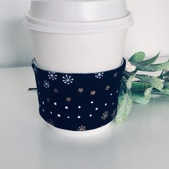 Christmas Coffee cup cozy with Navy Blue and Christmas Stars