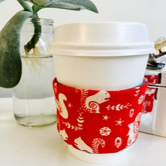 Christmas Coffee cup cozy with Scandi Woodland Creatures