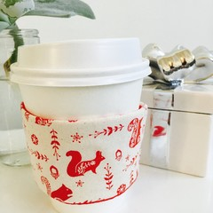 Christmas Coffee cup cozy with Cream and Red Scandi Woodland Creatures