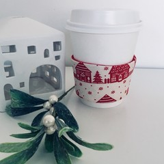 Christmas Coffee cup cozy with Scandi Village Scene