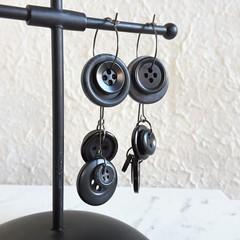 Unique Modern art Button statement mismatched dangling earrings , Black