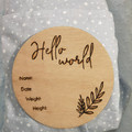 Baby Announcement Disk , Baby Shower Gift, Newborn Gift, Name Plaque, Custom Bab